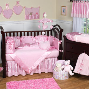 baby-nursery-awesome-nursery-rooms-decorating-ideas-with-modern-baby-girl-crib-bedding-and-pink-valance-also-with-rectangular-pink-rugs-and-white-wooden-padded-wall-panels-along